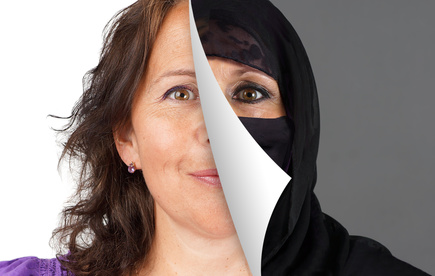 Veiling of Muslim women concept, with half the head veiled being peeled off